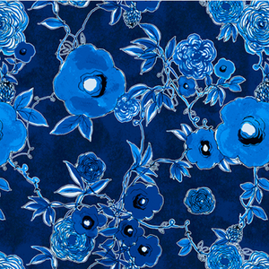 P & B Textiles House Designer - True Blue - Floral in Blue