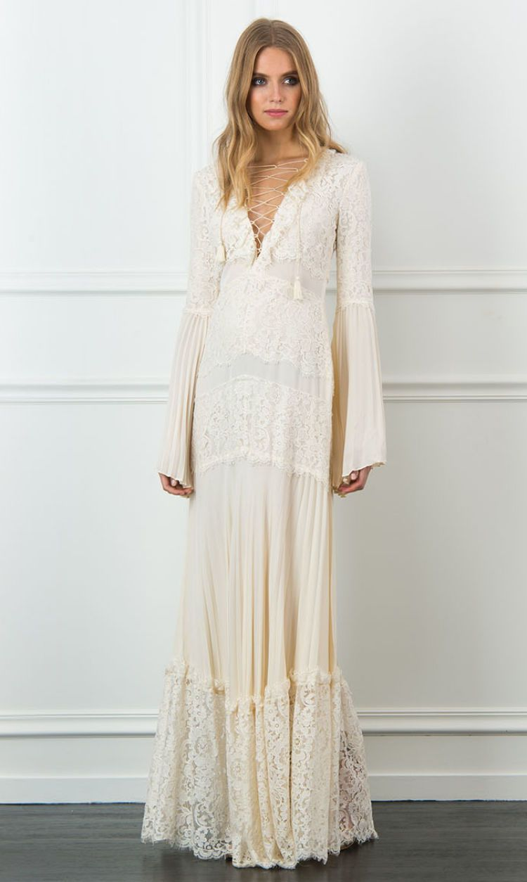 Rachel zoe annie laceupmaxi dress add boots and flowers for a
