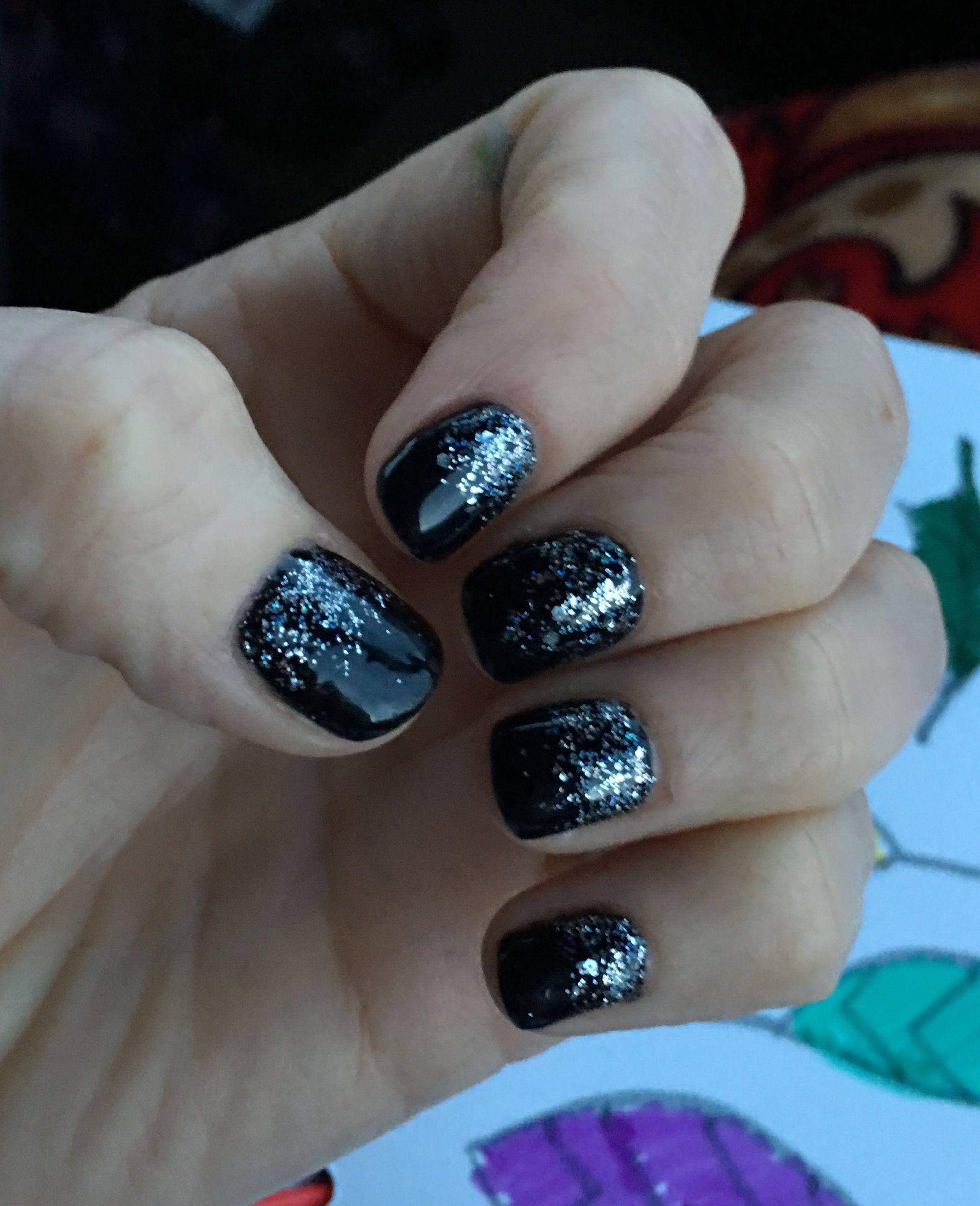 Black winter gel nails. Added silver loose glitter. | Gel Nails ...