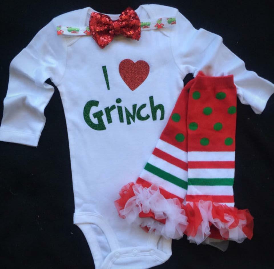 4e7134e197c4 Girl Christmas outfit-I love Grinch/Newborn Christmas outfit ...