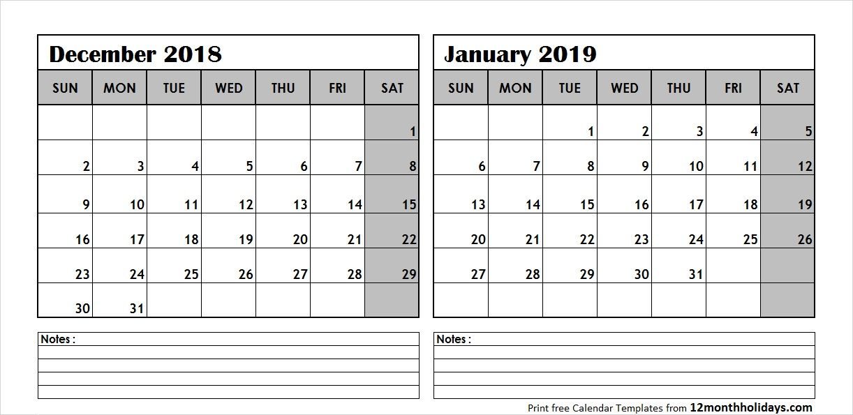December 2018 January 2019 Calendar With Notes 2018 Calendar
