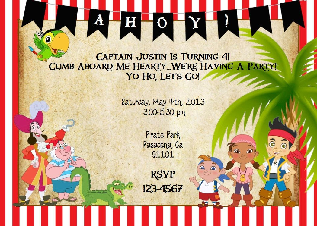 Pirate Party Invitations Templates Free - Invitation Templates ...