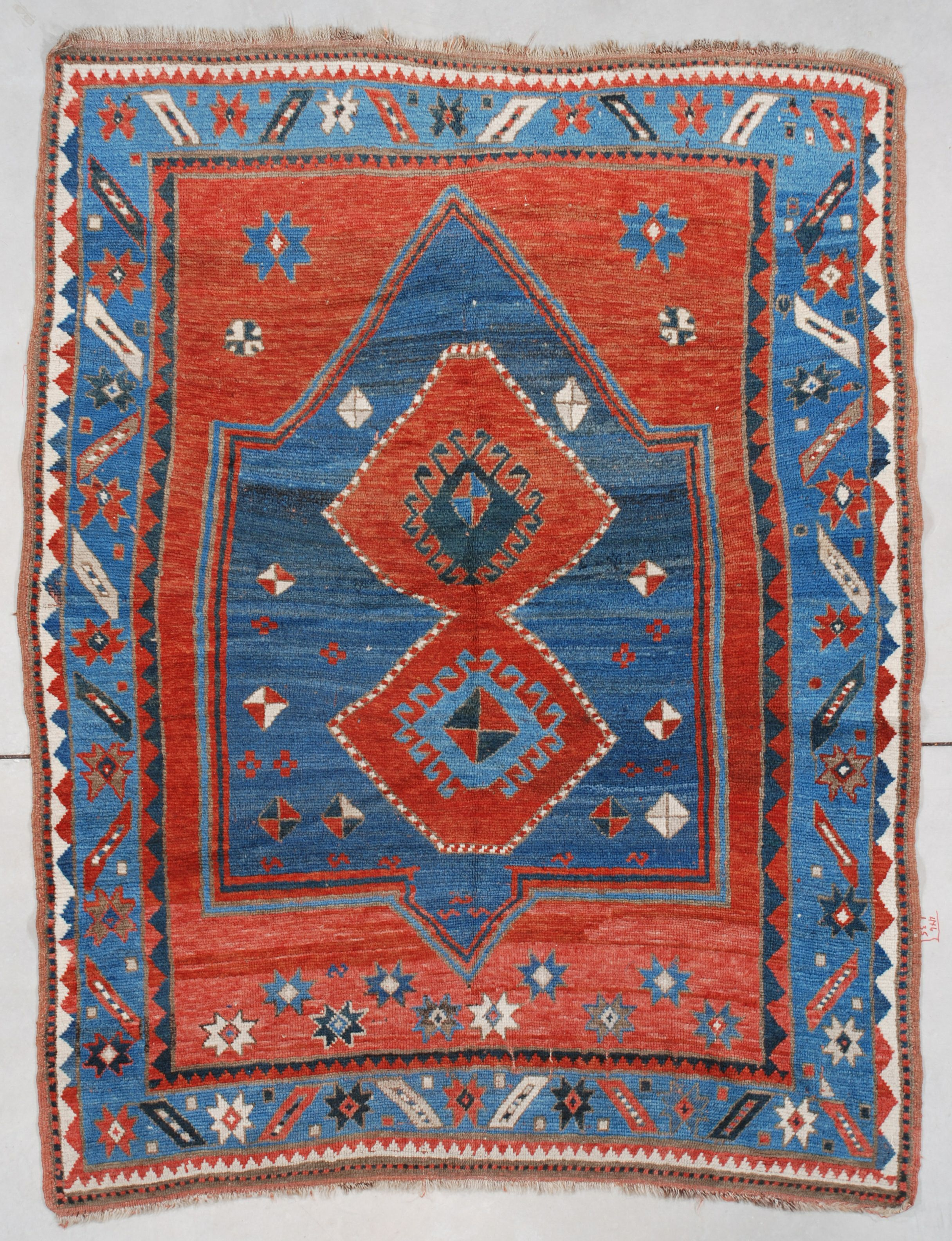 Kazak Teppiche 7499 Kazak Antique Caucasian Rug 4 3 X 6 4 Turkic Folklore And