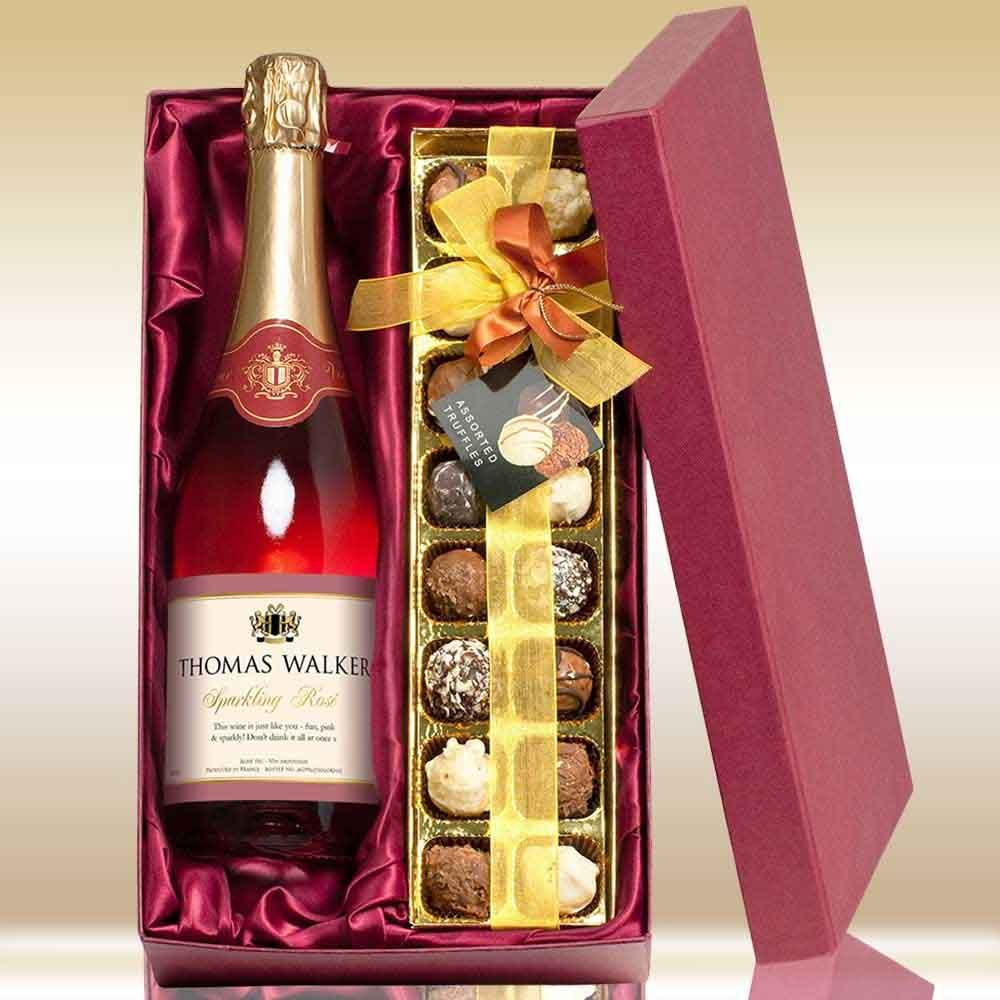 A box of 16 delicious chocolate truffles and bottle of