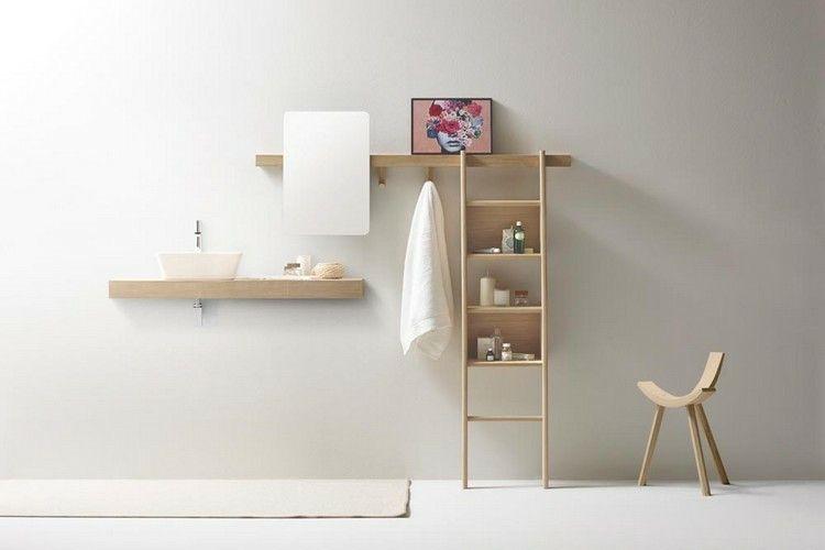 muebles estantes de madera natural
