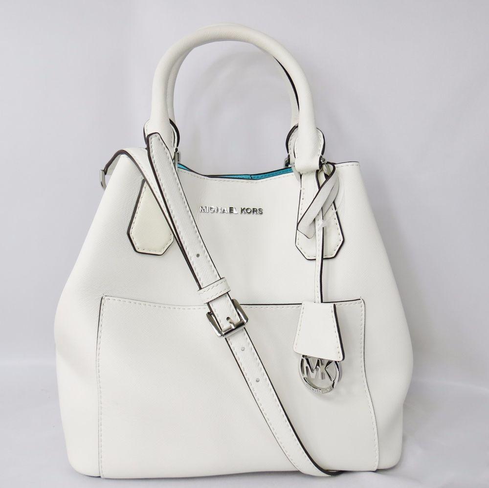14406f4db276 Michael Kors Greenwich Large Leather Grab Bag Tote Optic White/Aqua  #MichaelKors #TotesShoppers
