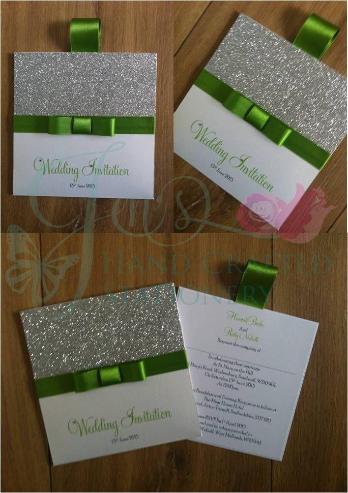 Apple green wallet invitation with silver glitter www ...