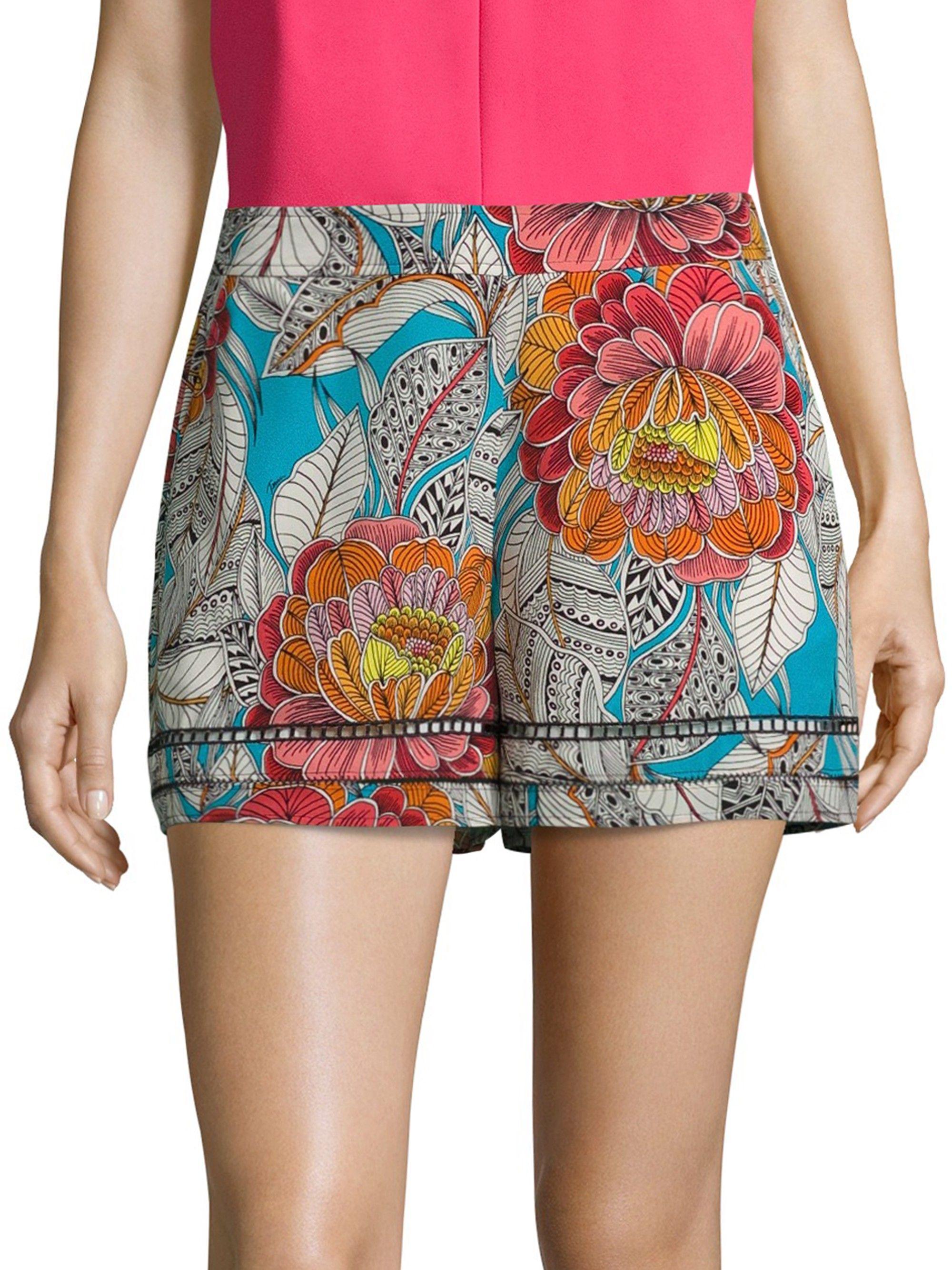d37756bd451 Trina Turk Bubbly Floral-Print Silk Shorts - Multi Small