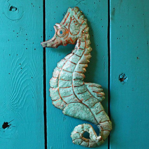 Copper Seahorse By Mark With Orange And By Natureartstudio 36 00 Metal Art Copper Sheets Hand Shapes