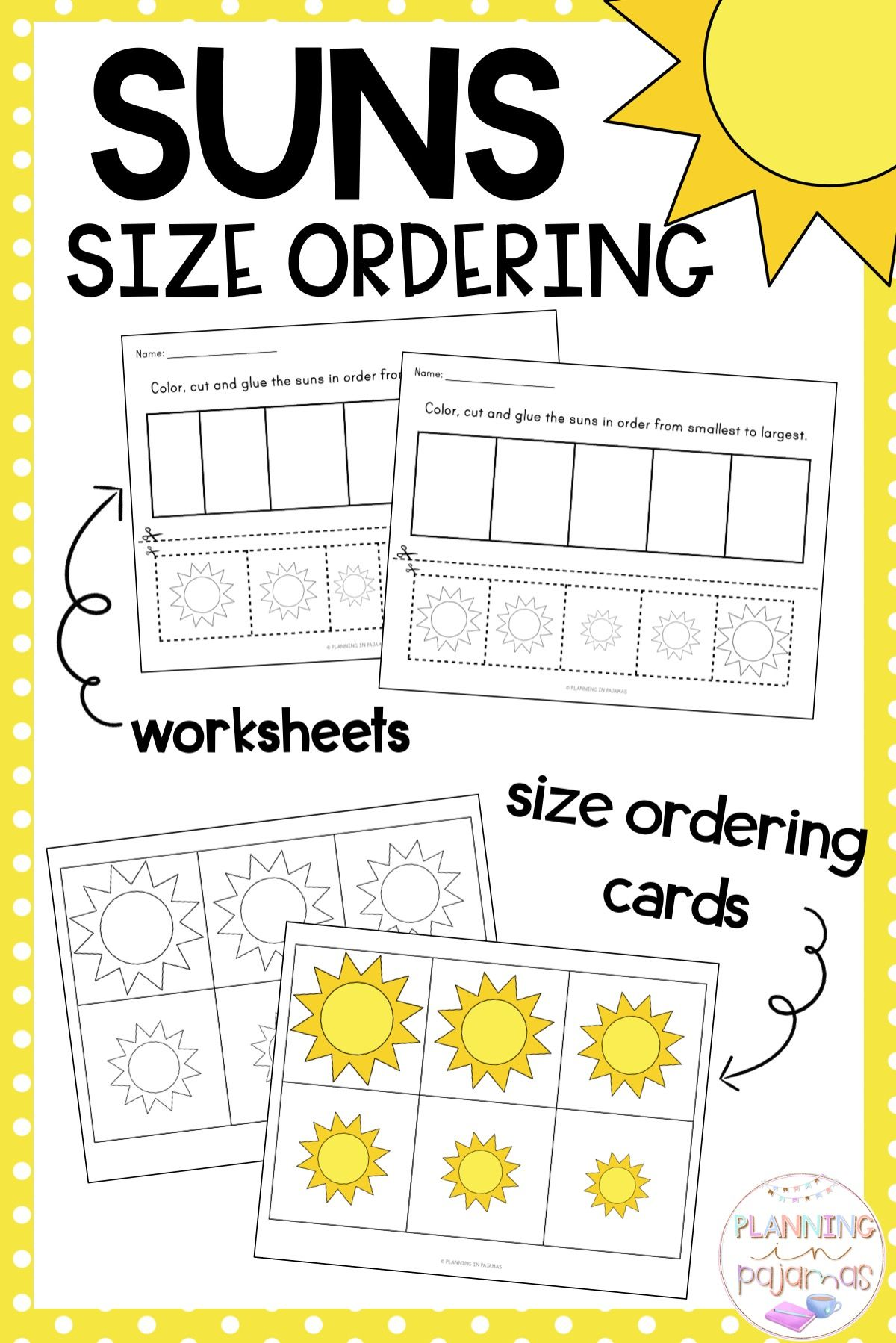 Size Ordering Activity To Include In A Summer Or Weather Theme Includes 2 Worksheets And 2 S Kindergarten Math Worksheets Kindergarten Centers Space Preschool [ 1798 x 1200 Pixel ]