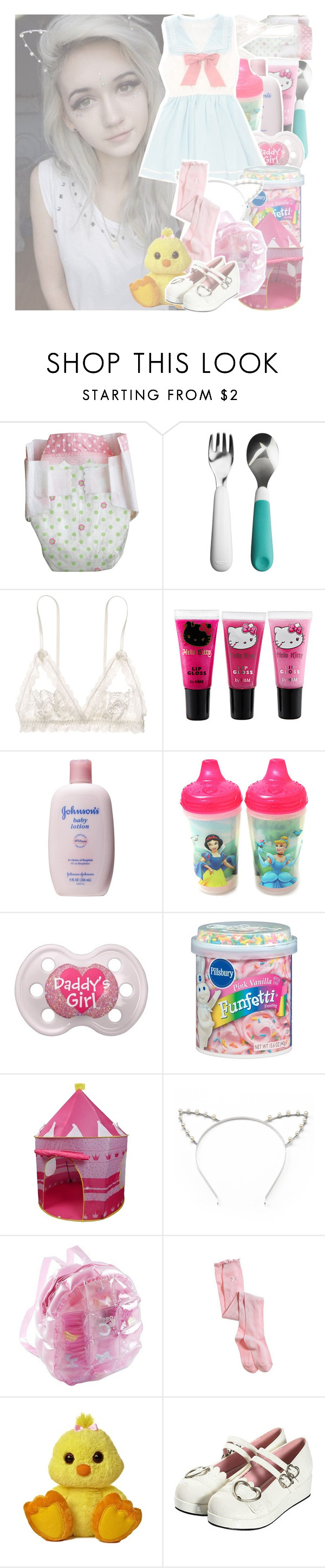 """""""{ootd   duckie really likes frosting like me} evelyn"""" by madness-anxns ❤ liked on Polyvore featuring OXO, Hanky Panky, Hello Kitty, Johnson's Baby, The First Years, Pink Vanilla, Candie's and Aerie"""