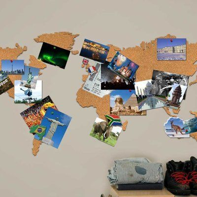 33 brilliant ways to actually use your travel photos photos world map shaped cork board gumiabroncs Image collections