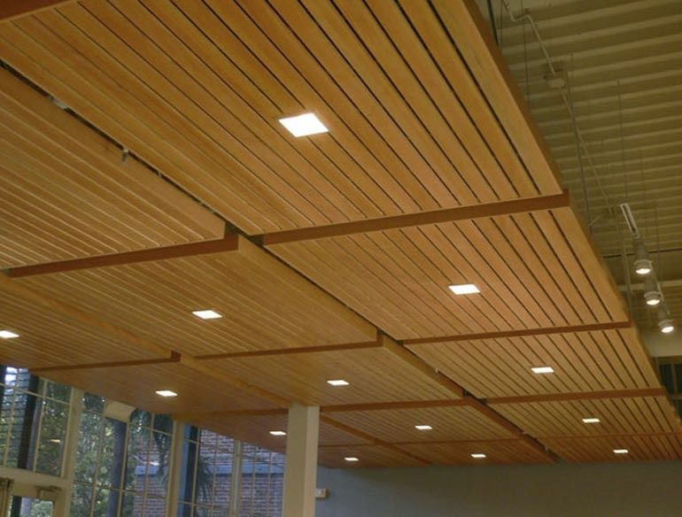 Wood Panel Ceiling With Square Downlights Diseno De Techo