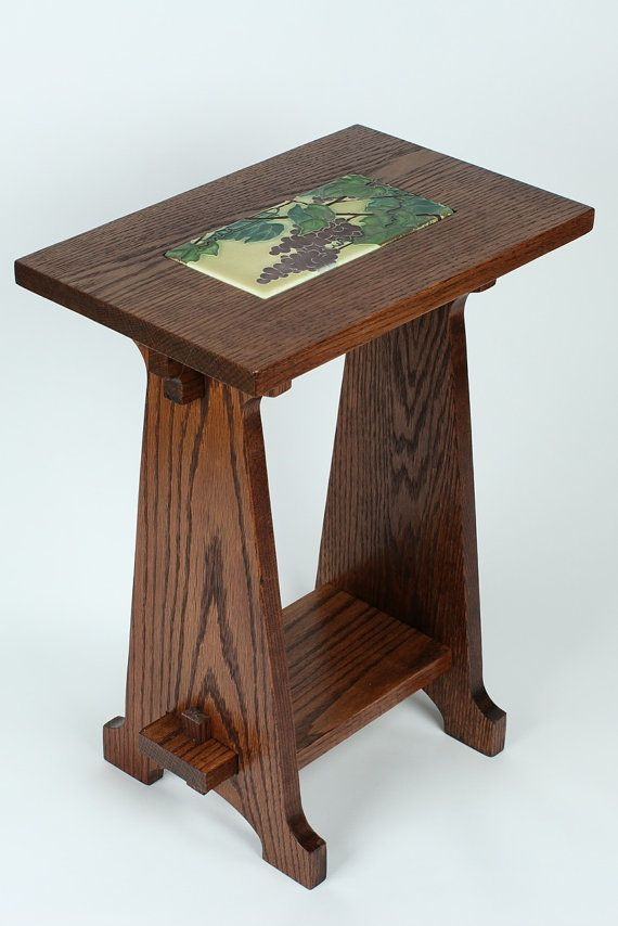 Arts Crafts Style Oak Table With Inset Art Tile Craftsman