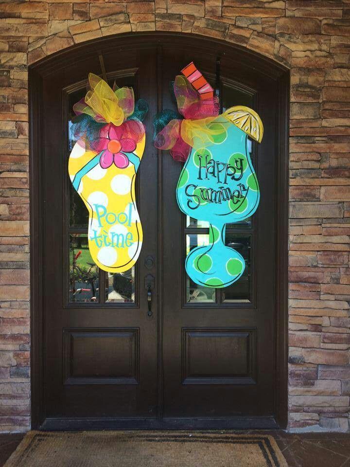 Flip Flop Amp Wineglass Door Wreath Hanger Door