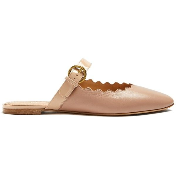 Chloé Lauren scallop-edged leather backless loafers Cheap Sale Free Shipping Largest Supplier Cheap Sale Affordable sHLp2y