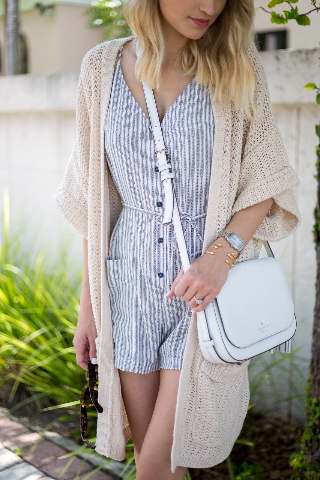 A Life And Style Blog Striped Romper Oversized Cardigan Outfits With Leggings Cute Outfits With Shorts Dressy Outfits [ 1600 x 1067 Pixel ]