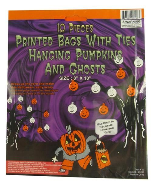 Club Pack of 960 Pumpkin and Ghost Hanging Halloween Bag Decorations - decorate halloween bags