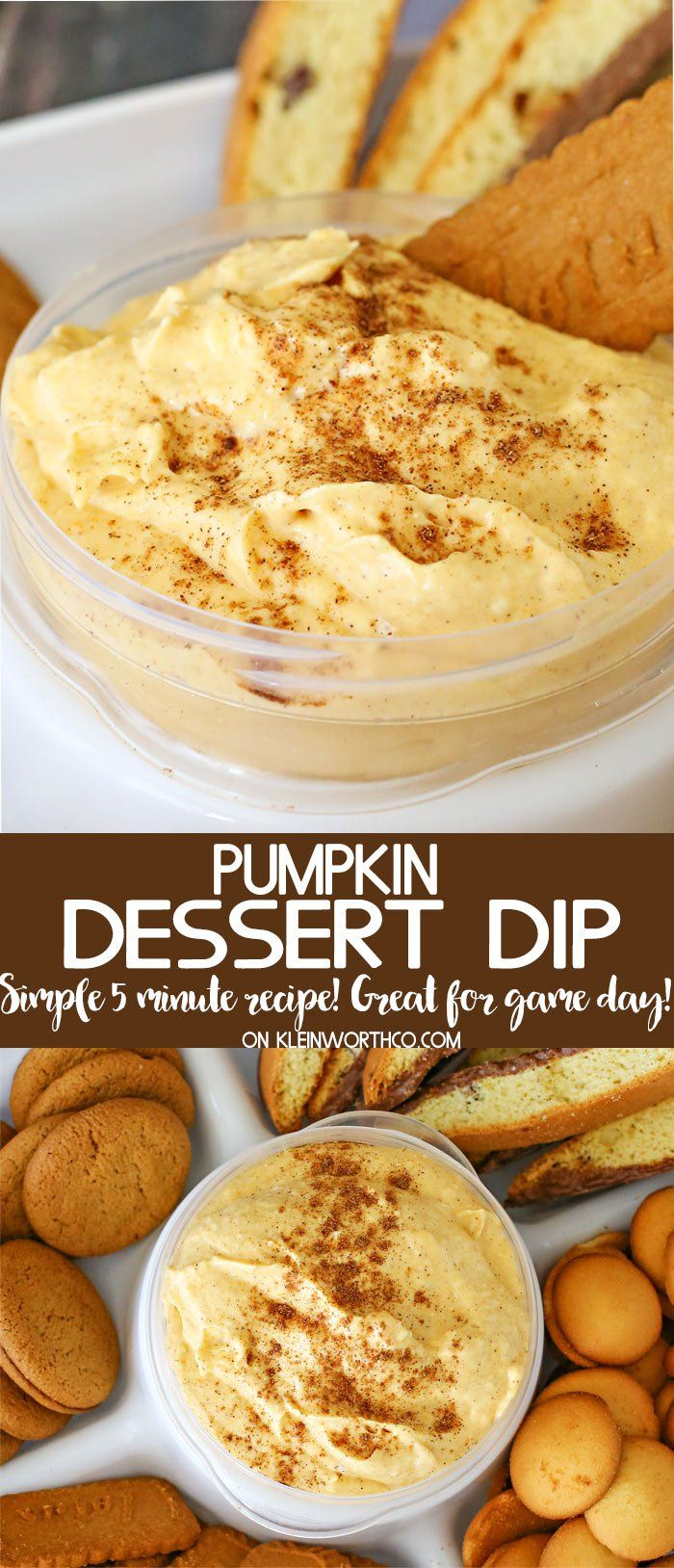 This Pumpkin Dip {Easy Tailgating Snack} is a delicious treat for dipping all those wonderful fall flavored cookies. Quick & easy desserts on the go. #pumpkindip