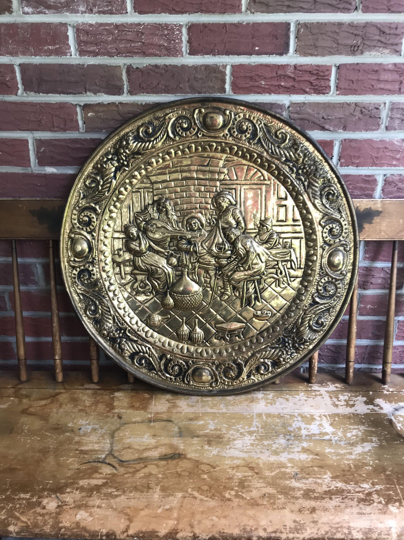 Very Large 25 Inch In Diameter Vintage Peerage Embossed Brass Wall