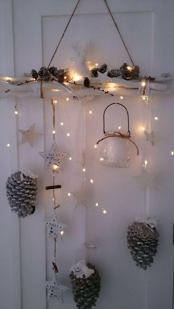 Adventsdekoration neu Mobile LED Zapfen weiss Weihnachten Advent Fensterdeko #fensterdekoweihnachten