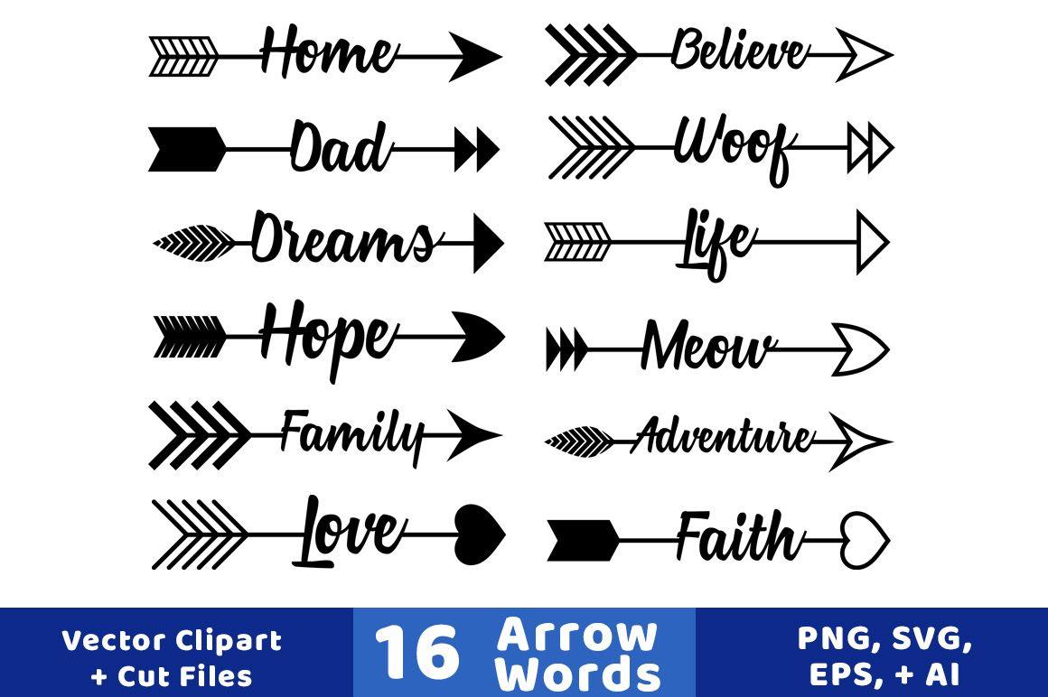 16 Arrow Words Clipart Rustic Arrows Clipart Arrow Svgs Wedding Clipart Vector Arrows Arrow Graphics By Digital Downloa Arrow Words Arrow Clipart Clip Art