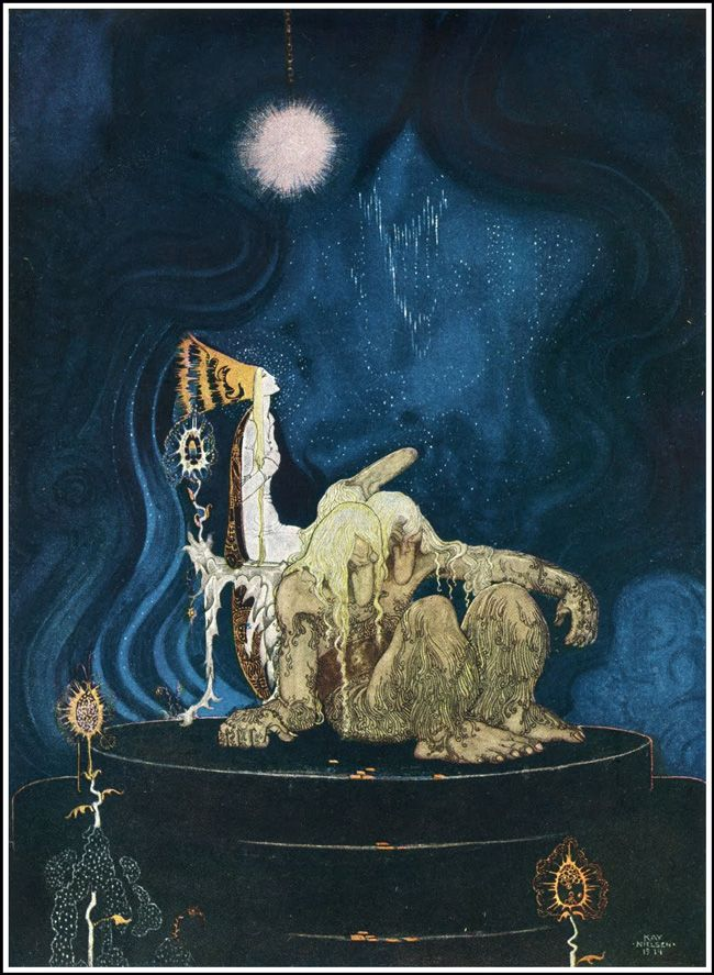 Image result for 'The troll was quite willing, and before long he fell asleep and began snoring' – The Three Princesses in the Blue Mountain a Norwegian folk tale
