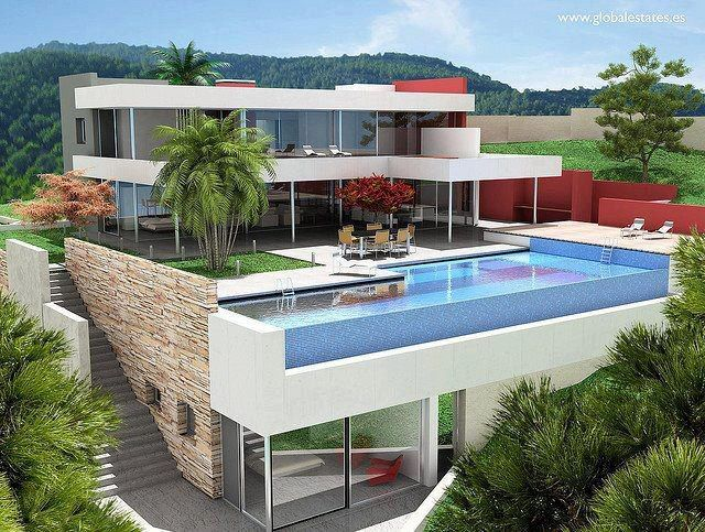 Planos de casas bonitas con piscina 640 483 arquitecture pinterest swimming pools - Casa con piscina ...