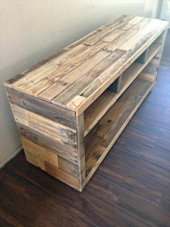 Pallet side table or tv stand pinteres for Living room furniture made out of pallets