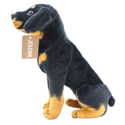 Jesonn Realistic Stuffed Animals Toys Dog Plush Sitting Rotweiller