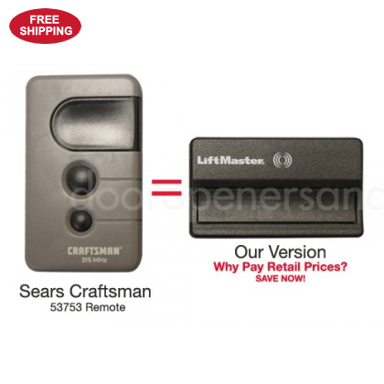 Sears Craftsman 139 53753 Compatible Single Button 315 Mhz Garage Door Opener Remote Control With Images Sears Craftsman