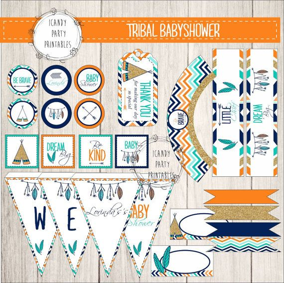 Tribal Baby Shower Kit, Baby Shower, Printables, DIY, Tribal Party  Printables,