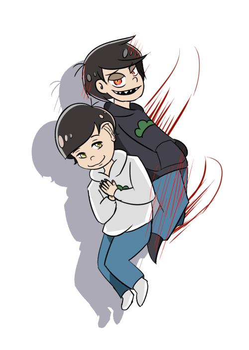 Godmatsu and Devilmatsu ||| Osomatsu-san 1x21 Fan Art by sprayingpaints on Tumblr