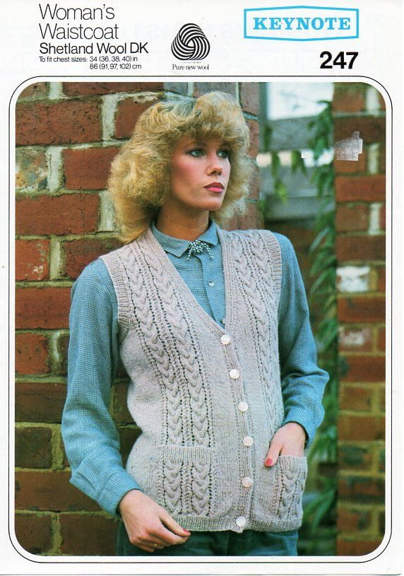 4198054872de5 womens waistcoat knitting pattern ladies cable sleeveless cardigan with  pockets Vintage 70s 34-40inch DK light worsted 8ply Instant Download by ...