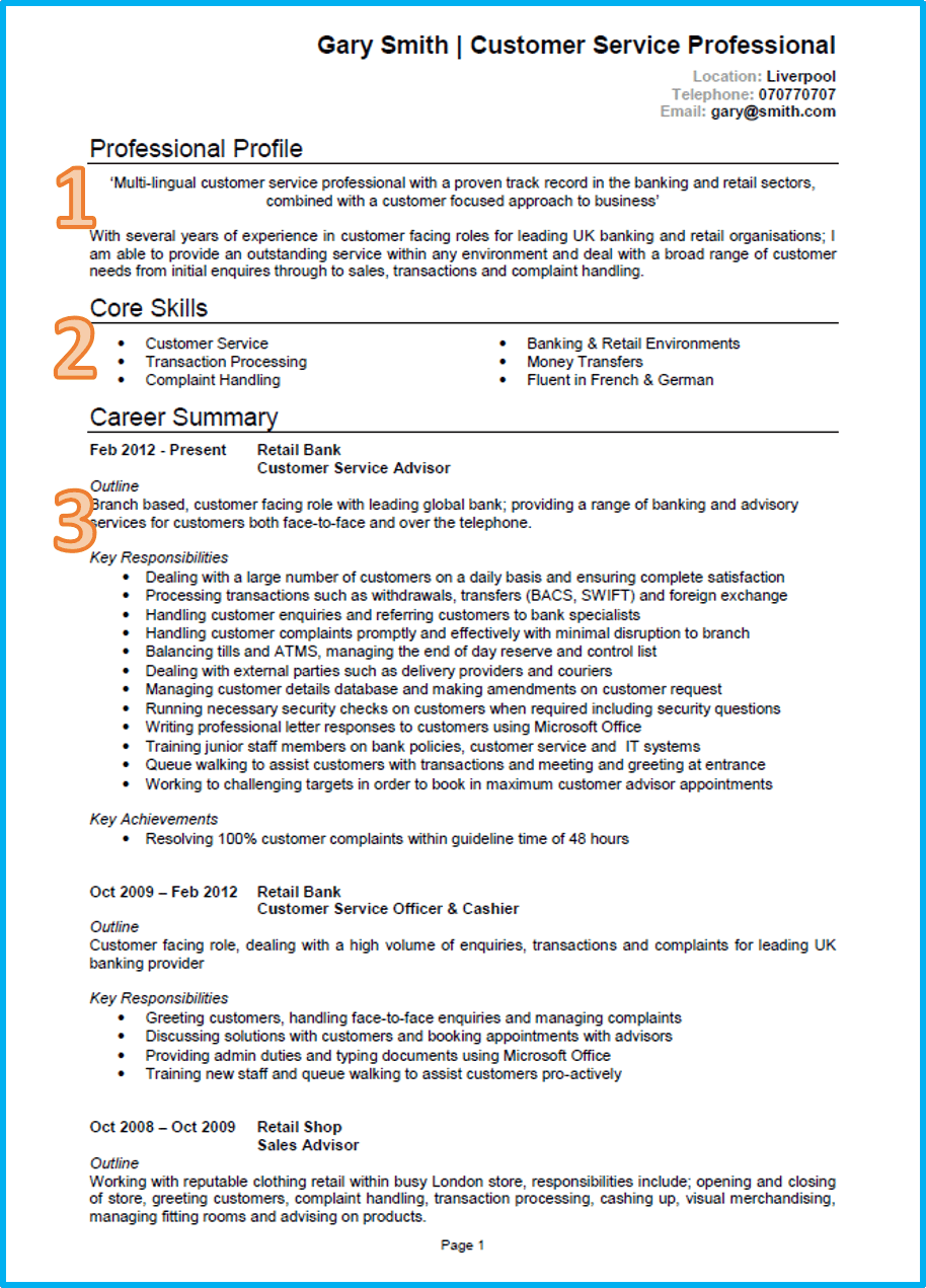 Customer Service Cv Example With Writing Guide And Cv Template Good Resume Examples Cv Examples Good Cv