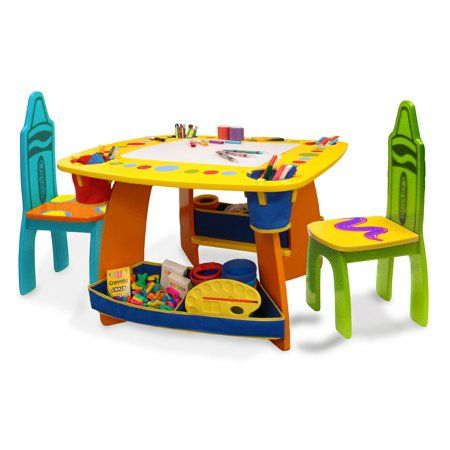 Grow N Up Crayola Kids Wooden Table Amp Chair Set Walmart