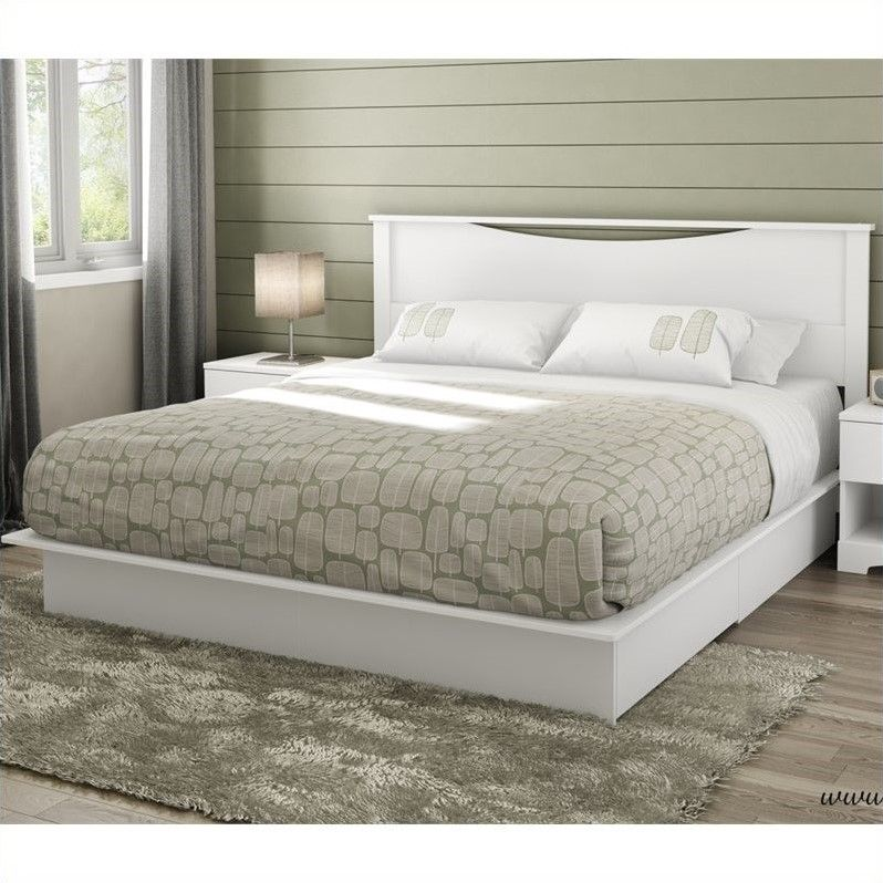 awesome king platform bed with white nightstand sets | King Beds ...
