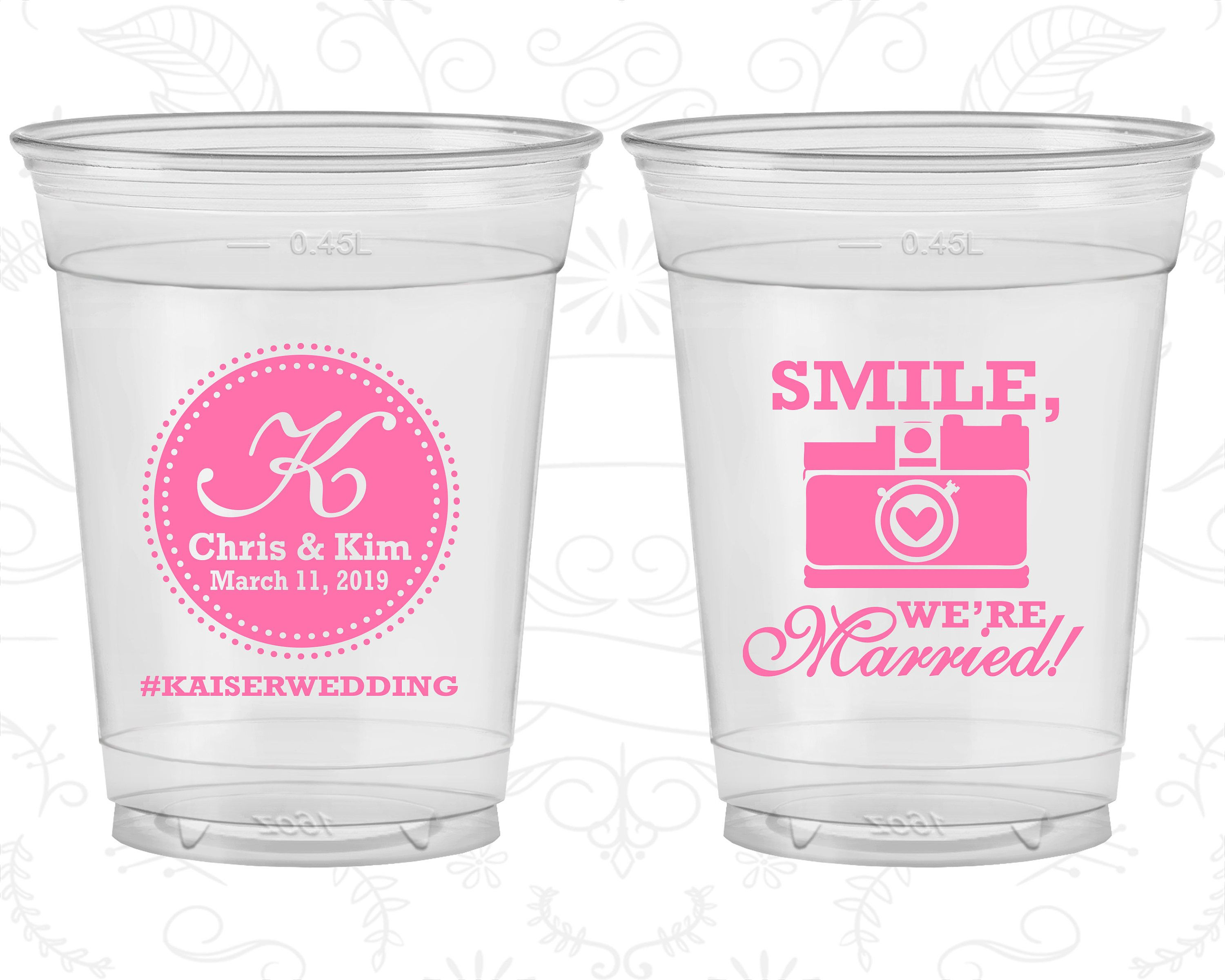 Smile We are Married, Wedding Favor Soft Sided Cups, Hashtag Wedding ...