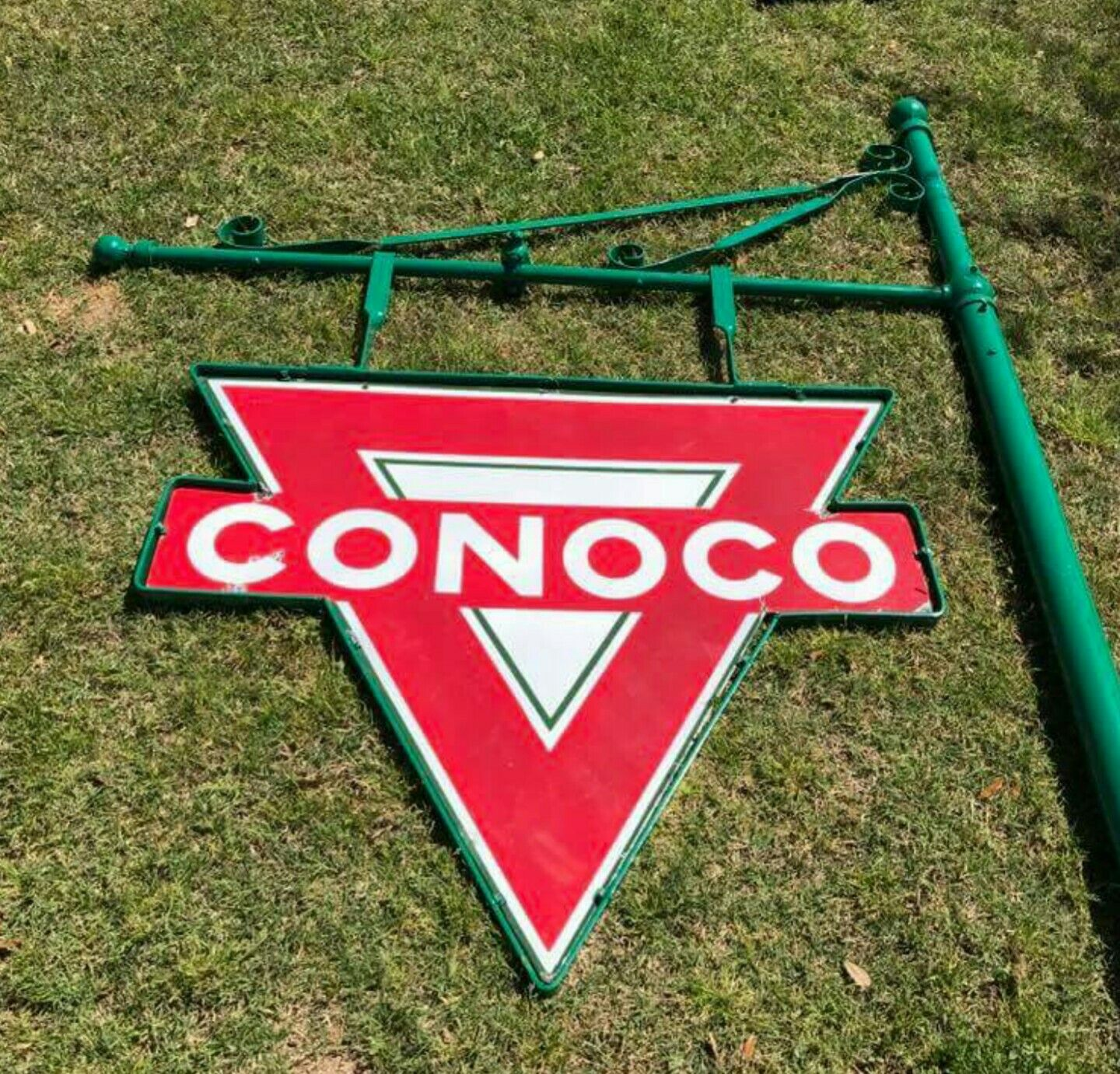 Original Porcelain Conoco Service Station Sign W Hanging