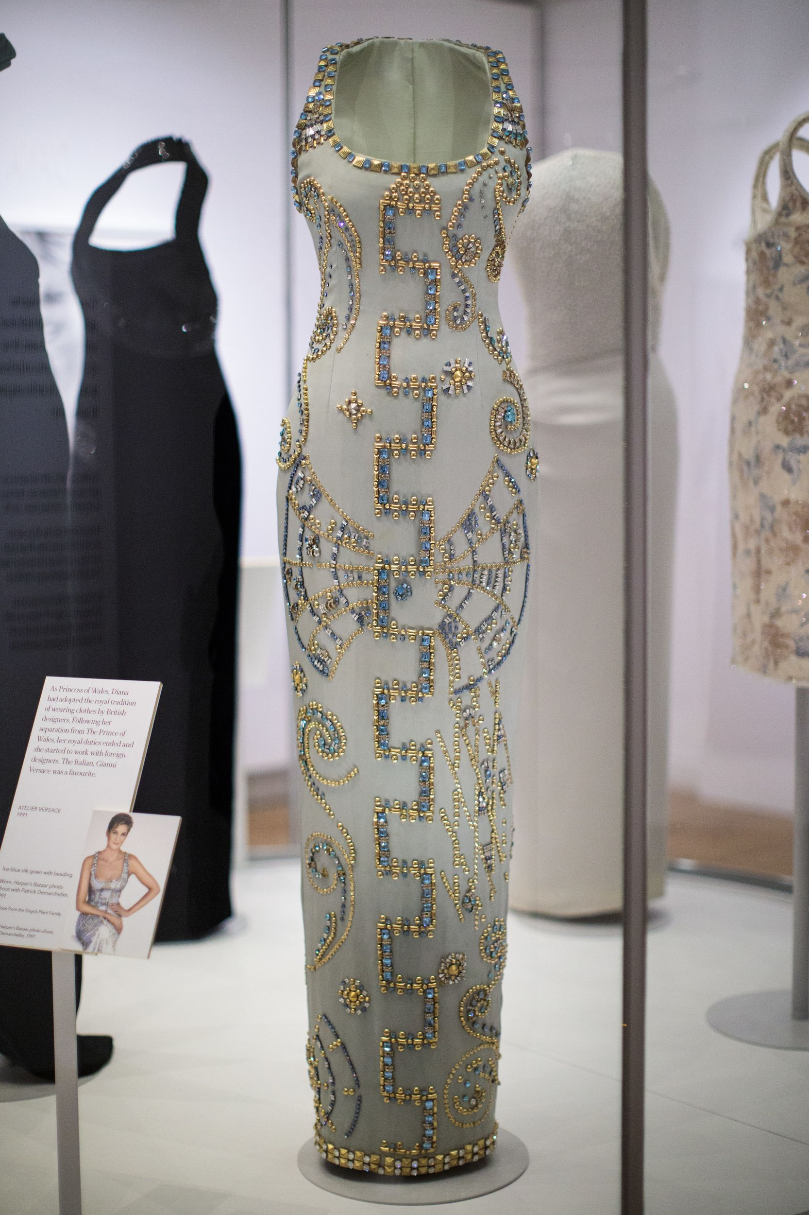 London England February 22 A 1991 Atelier Versace Silk Gown Worn By Princess Diana At A Harper Princess