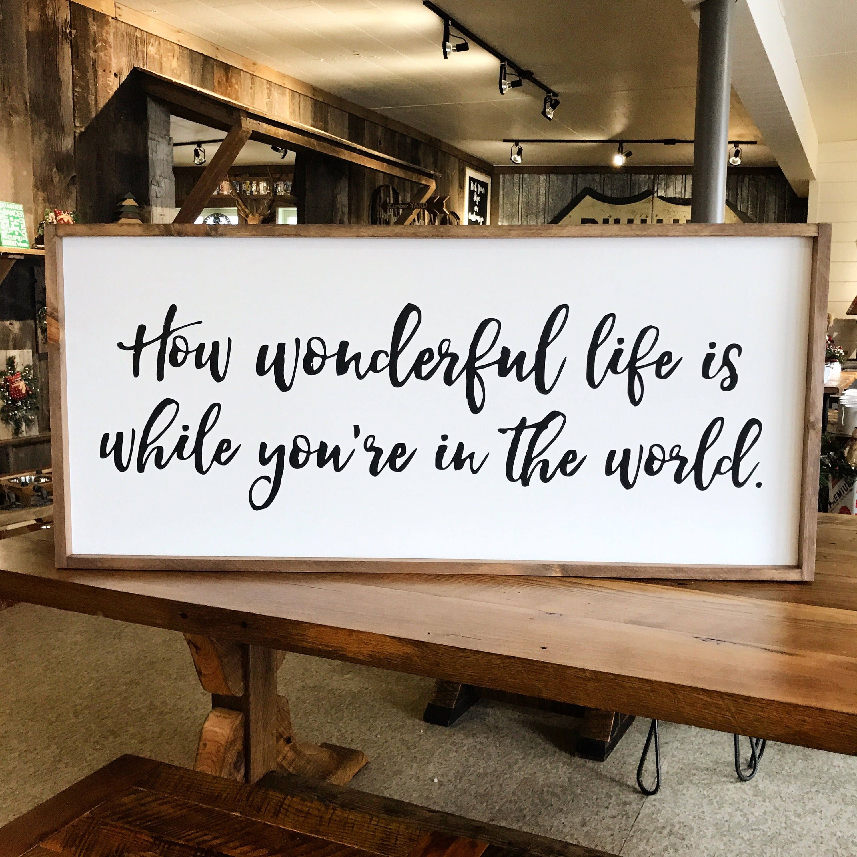 How Wonderful Life Is While You Re In The World Framed Wood Sign