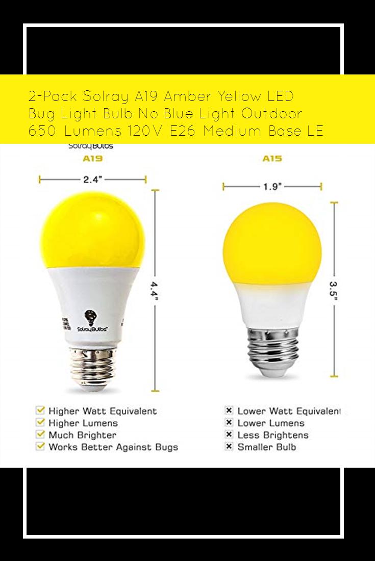 2 Pack Solray A19 Amber Yellow Led Bug Light Bulb No Blue Light