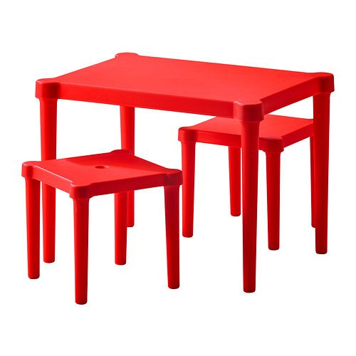 Attractive Red Surface for Square Kids Table and Chairs with High Legs and Interesting Design