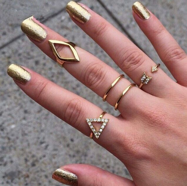 5Pcs Gold Ring Above Knuckle Stacking Band Midi Mid Crystal Ring Bijoux Set
