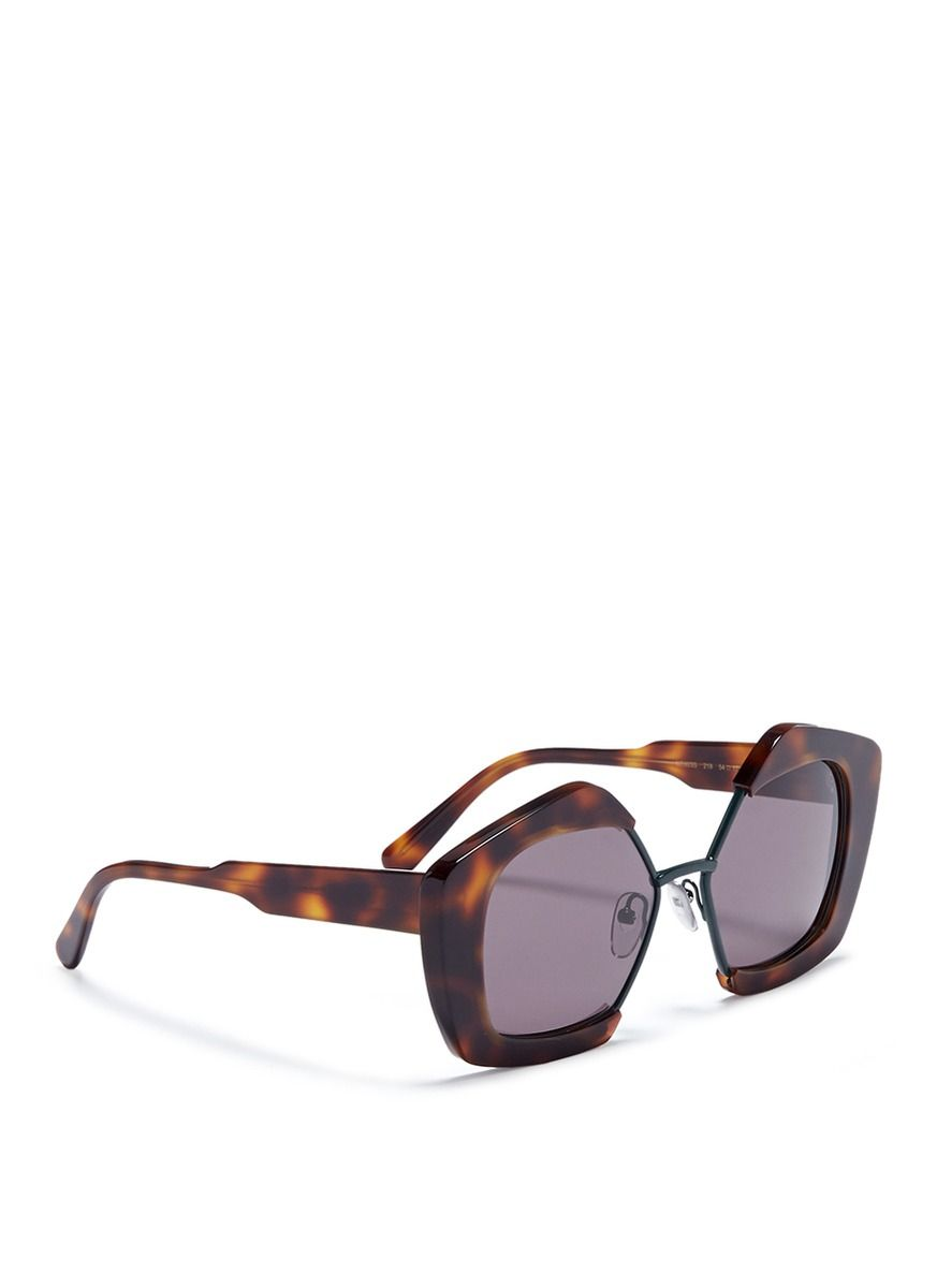 Show Round Sunglasses in Havana Acetate and Metal Marni GDkxub5