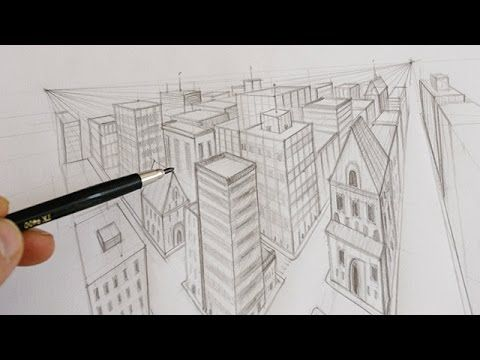 Comment dessiner une ville en perspective apprendre for Dessin batiment 3d