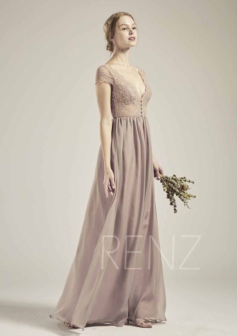 Brautkleid Mauve Spitze Boho Brautjungfer Kleid lange V Hals