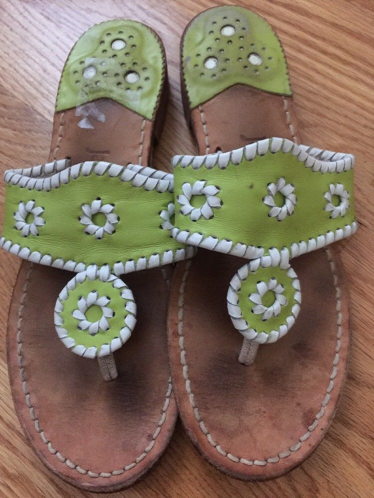 aeb315fcca51 Jack Rogers lime green white leather flat Sandal 7- 7 1 2  fashion  clothing   shoes  accessories  womensshoes  sandals (ebay link)