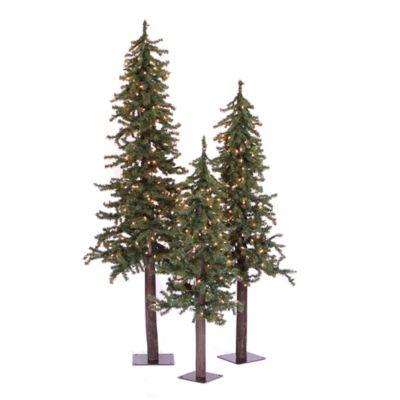 Vickerman 3-Piece Natural Alpine Pre-Lit Christmas Tree Set With