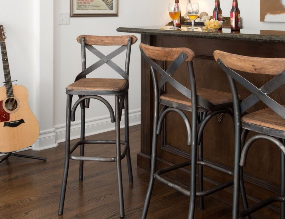 30  Square Wood Back Seat Bar Stool High Chair Kitchen Metal Rustic Industrial : bar stool chairs for the kitchen - islam-shia.org